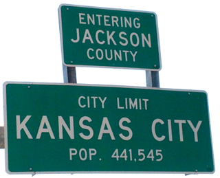 Claron Twitchell took the picture of this Kansas City, Missouri city limit sign on the Chouteau Trafficway bridge
